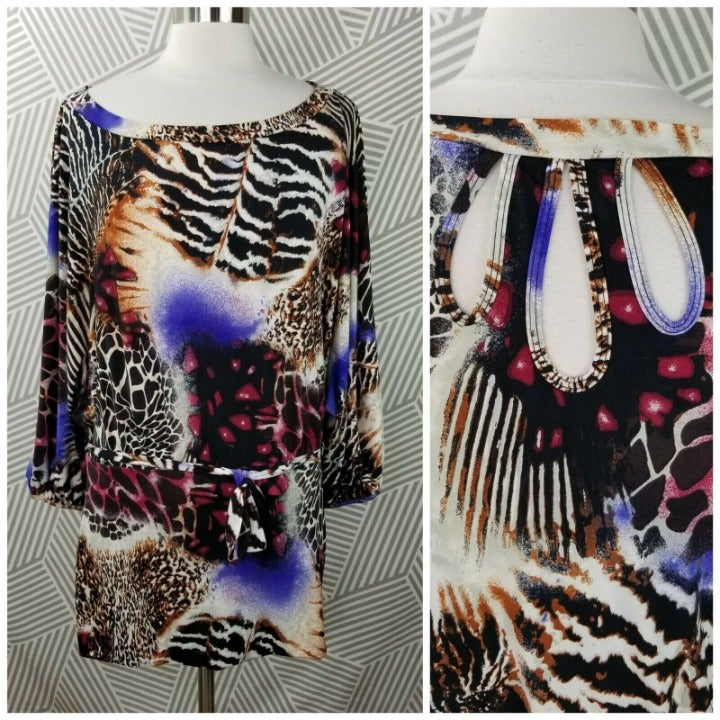 Bisou Bisou size Large Tunic Top Animal