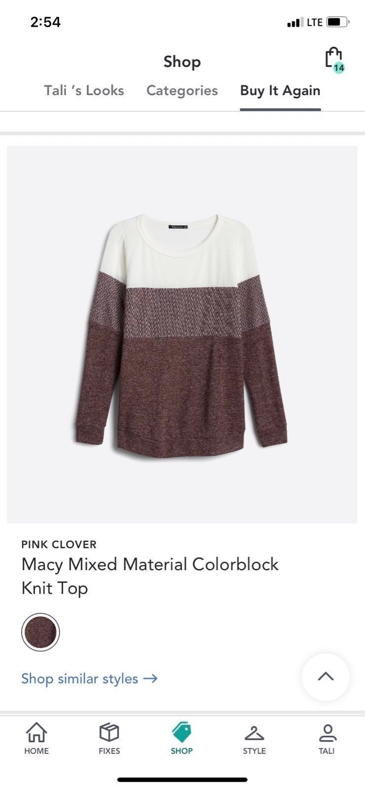 NEW Pink Clover Macy Colorblock Knit Top