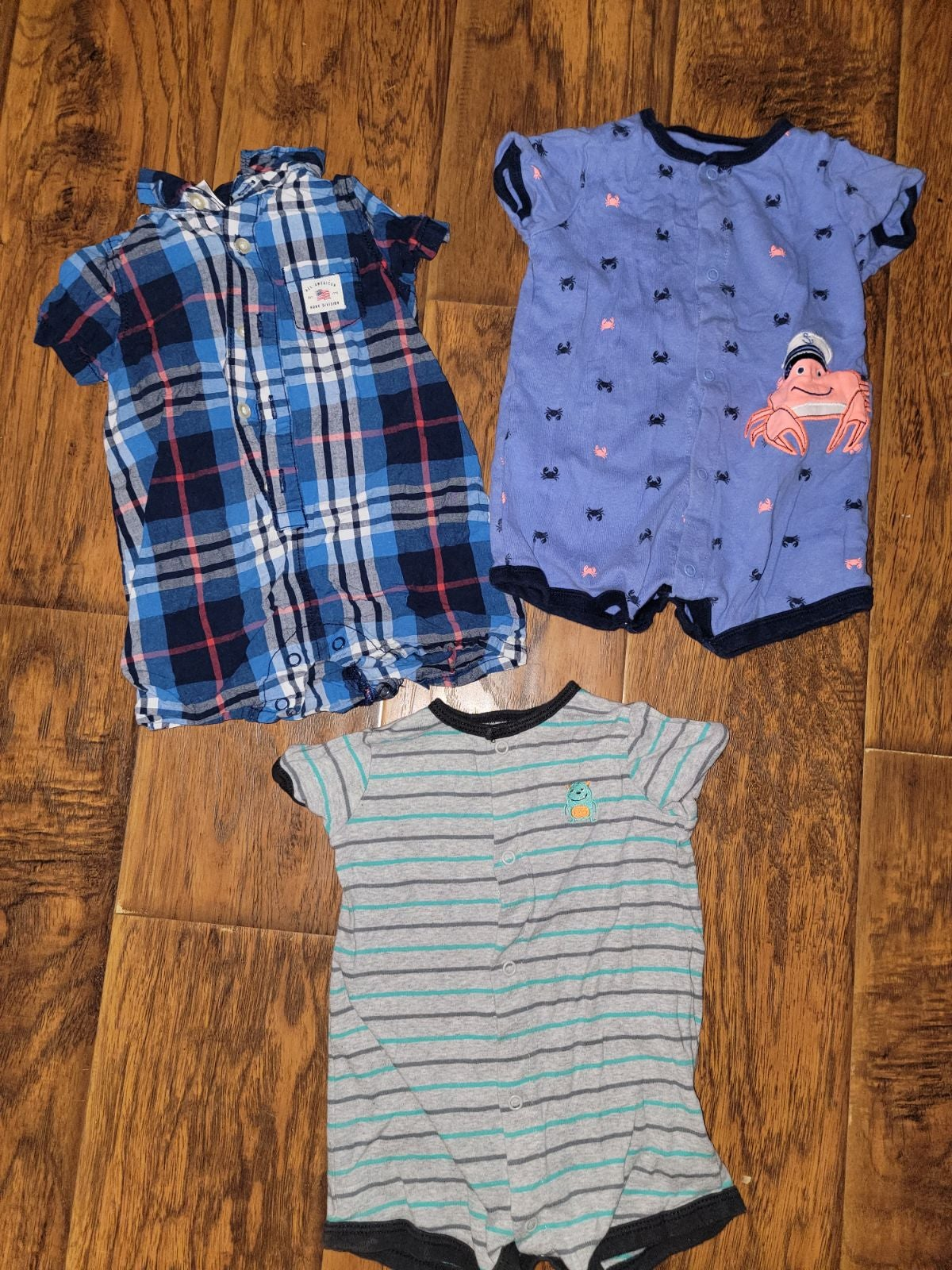 3 baby boy rompers
