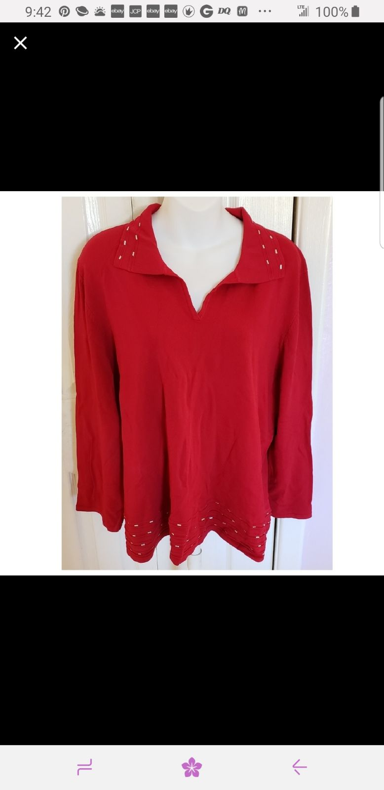 Size 3X Red Embellished Pullover Shirt