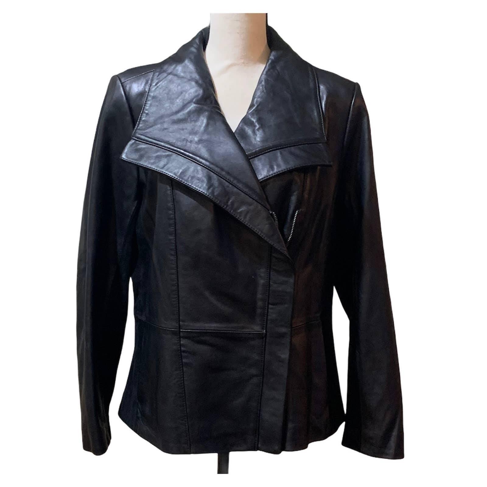 Halston Black Leather Motorcycle Jacket