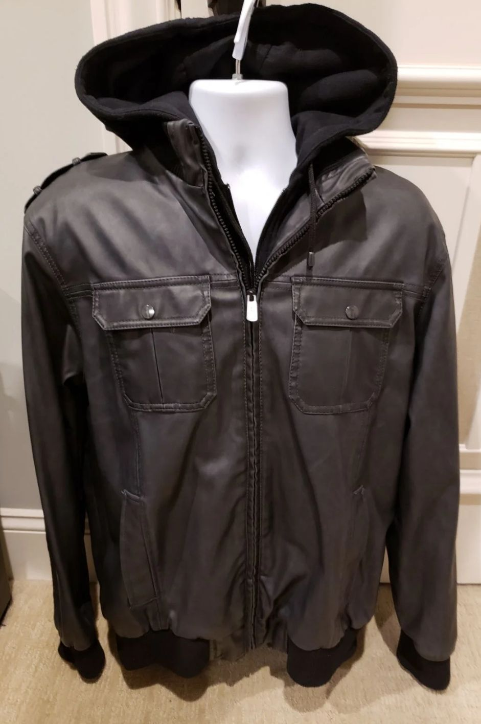 Mens Black Moto Hooded Leather Jacket