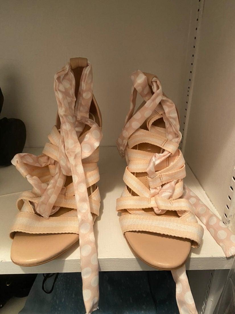 Gianni Bini Laced Up Pink Heels