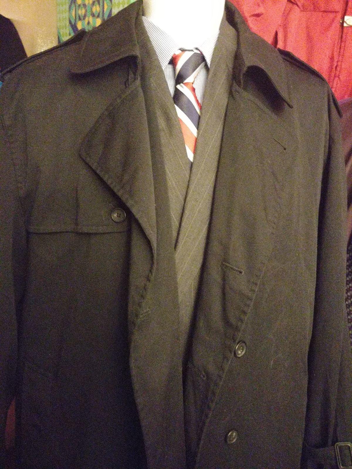 Trench Coat By Bill Blass Black Mens XLG