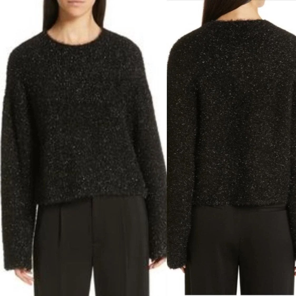 Vince black fluffy pullover sweater