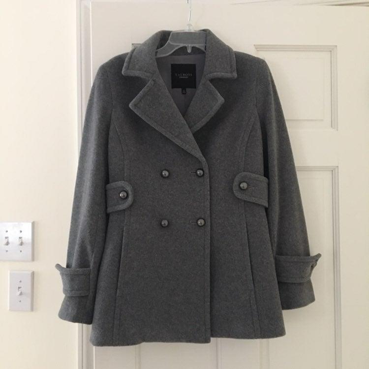 Talbots Gray Wool Peacoat