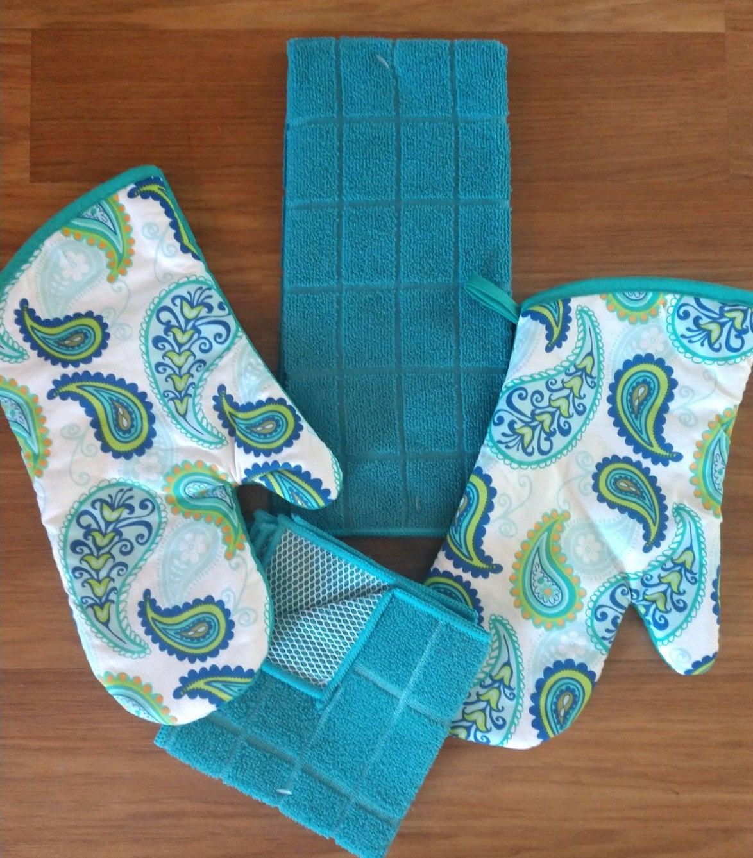 Teal Paisley Kitchen Towel Set/5