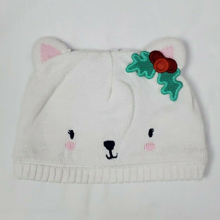 Gymboree Winter Hat 12/24M White Bear