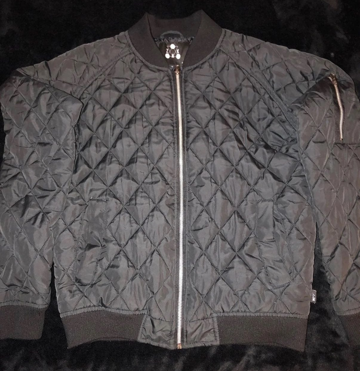 Trendy Quilted Pattern Bomber Jacket SM