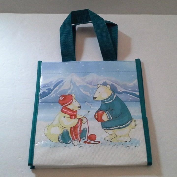 Polar Bear Couple Small Lunch Tote Bag