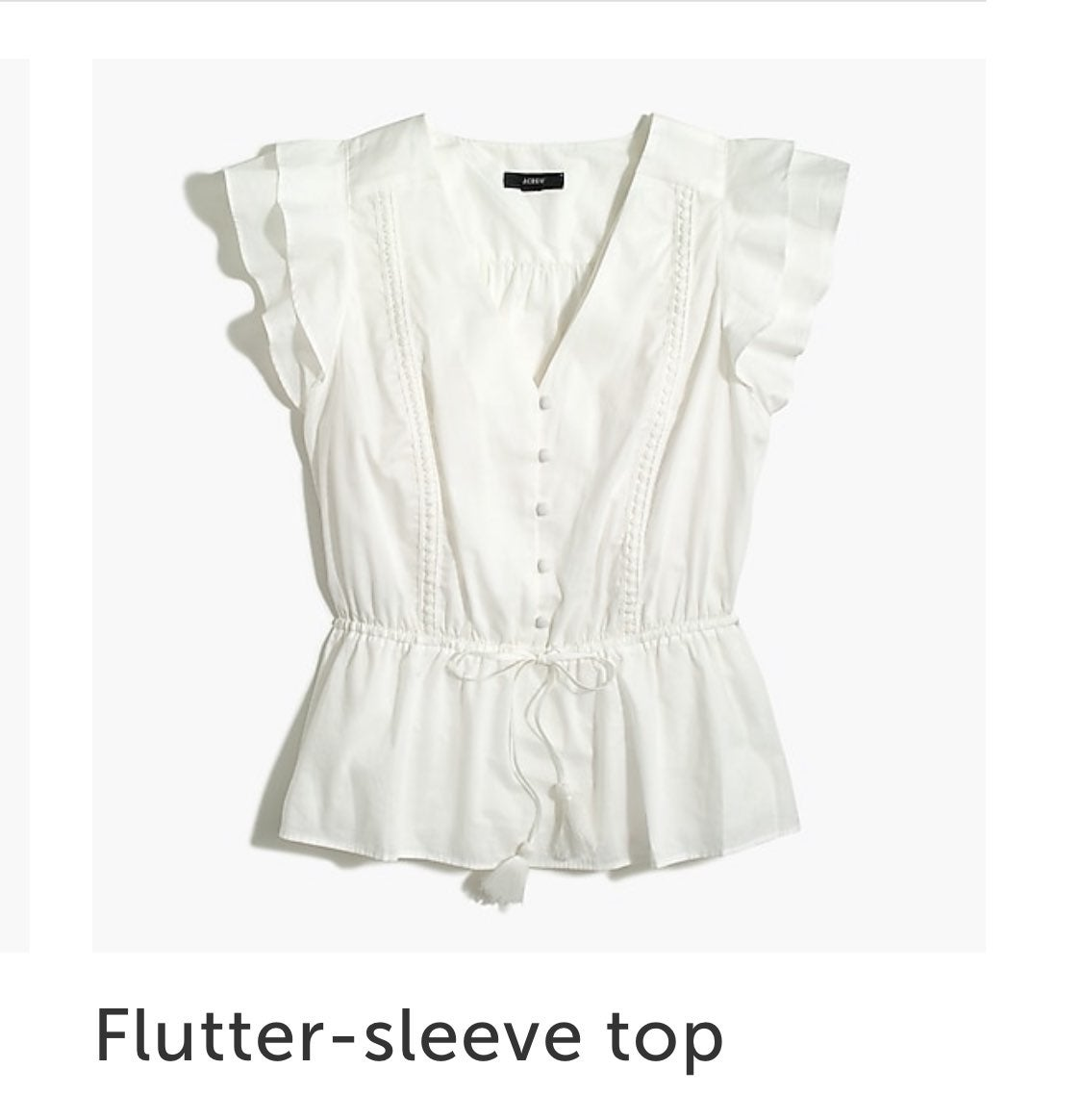 J crew flutter sleeve shirt NWT