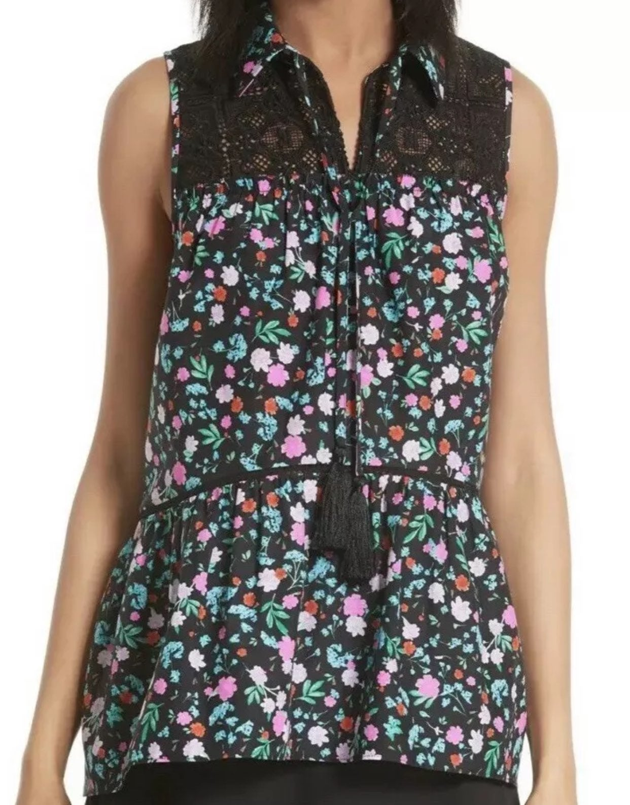 Kate Spade top floral print lace small