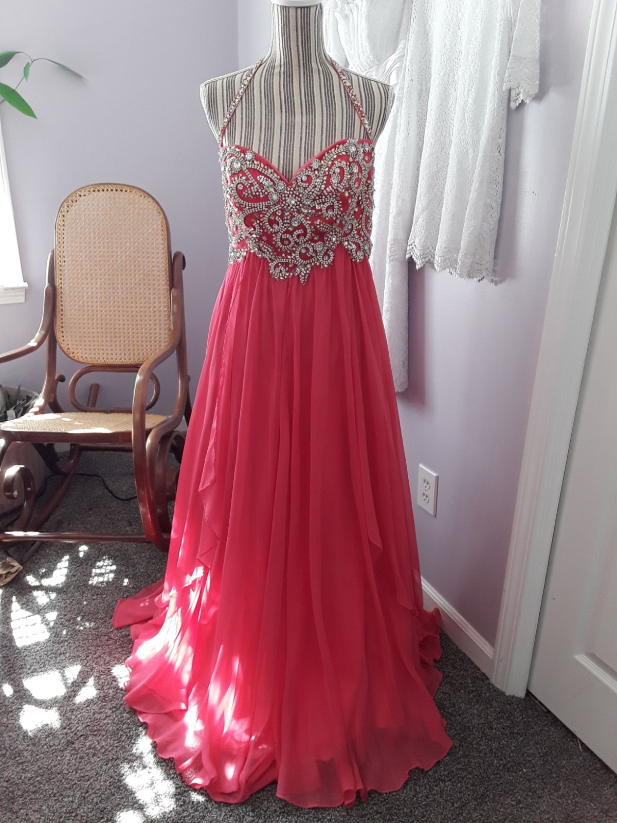 Prom dress stunning coral with bling