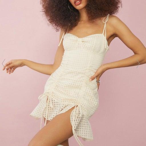 NWT Sugar Thrillz Ivory Gingham Dress XL