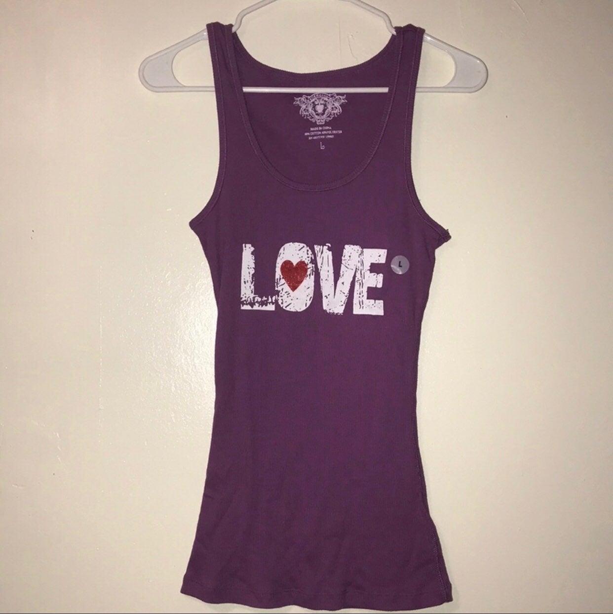 Ellemenno purple 'LOVE' ribbed tank top