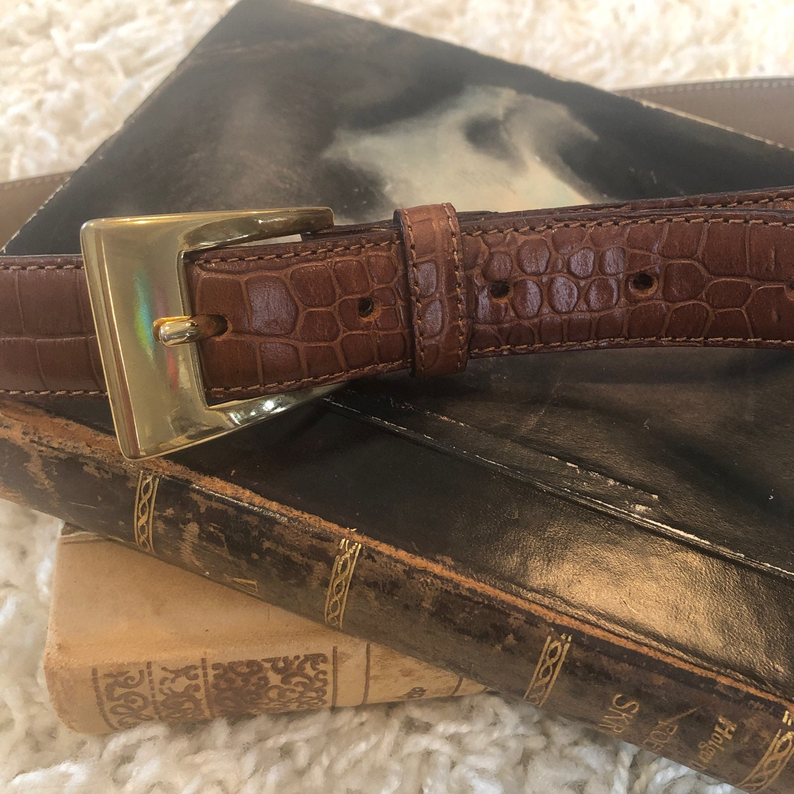 Talbots brown croc-embossed leather belt