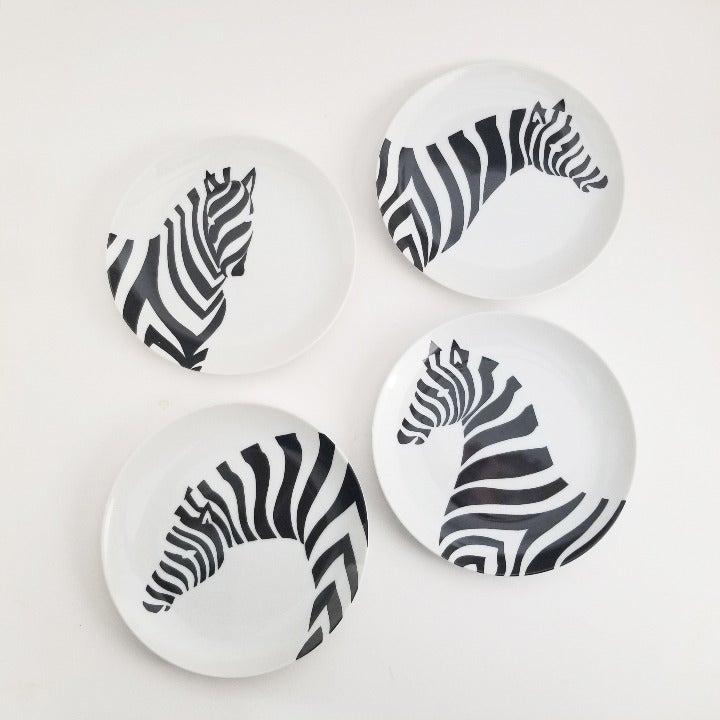 Fitz and Floyd Zebra Plates SET of 4