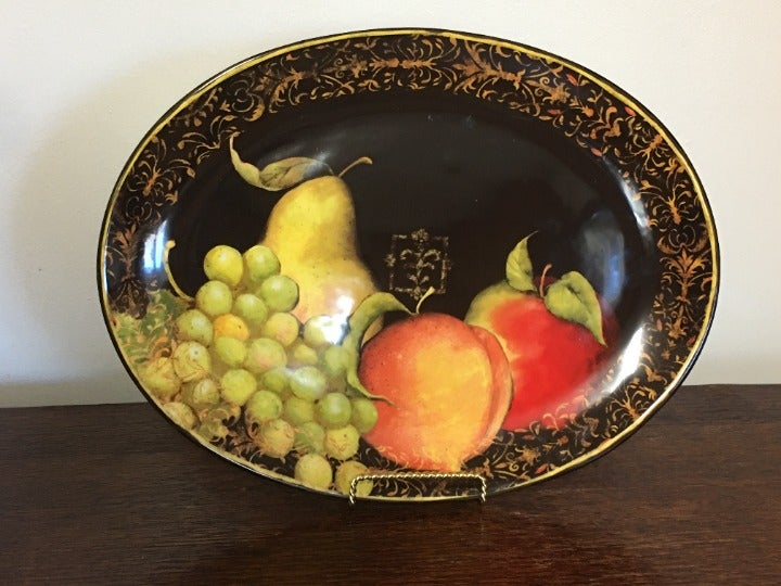Susan Winget Black Fruit Oval Platter