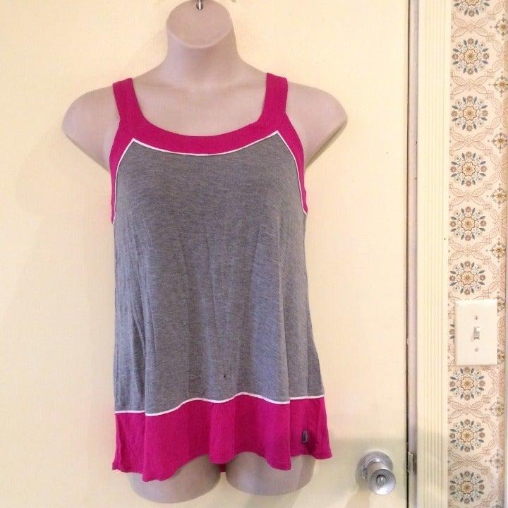 DKNY Large pink gray tank top knit shirt