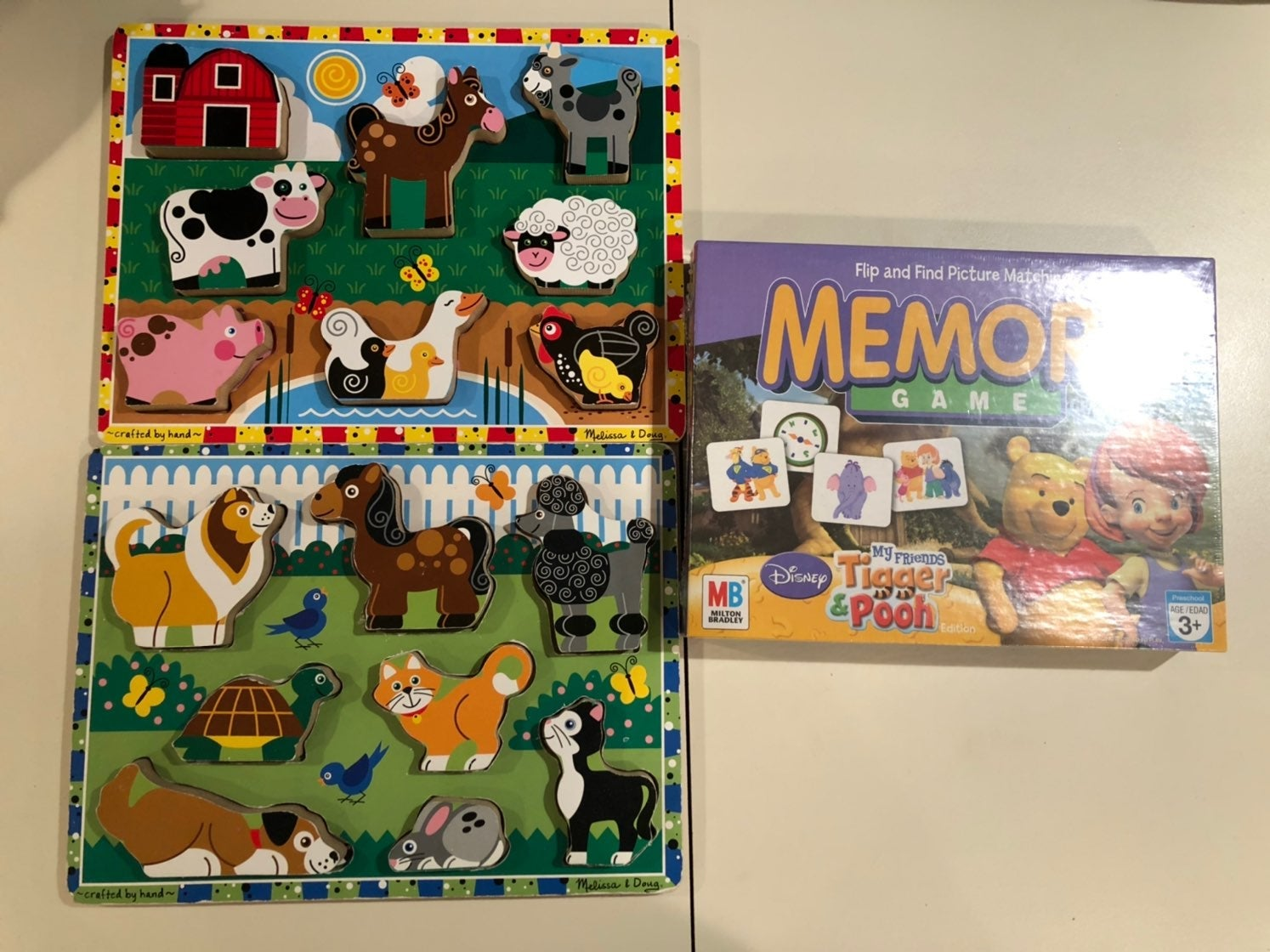 melissa and doug wooden puzzles + memory