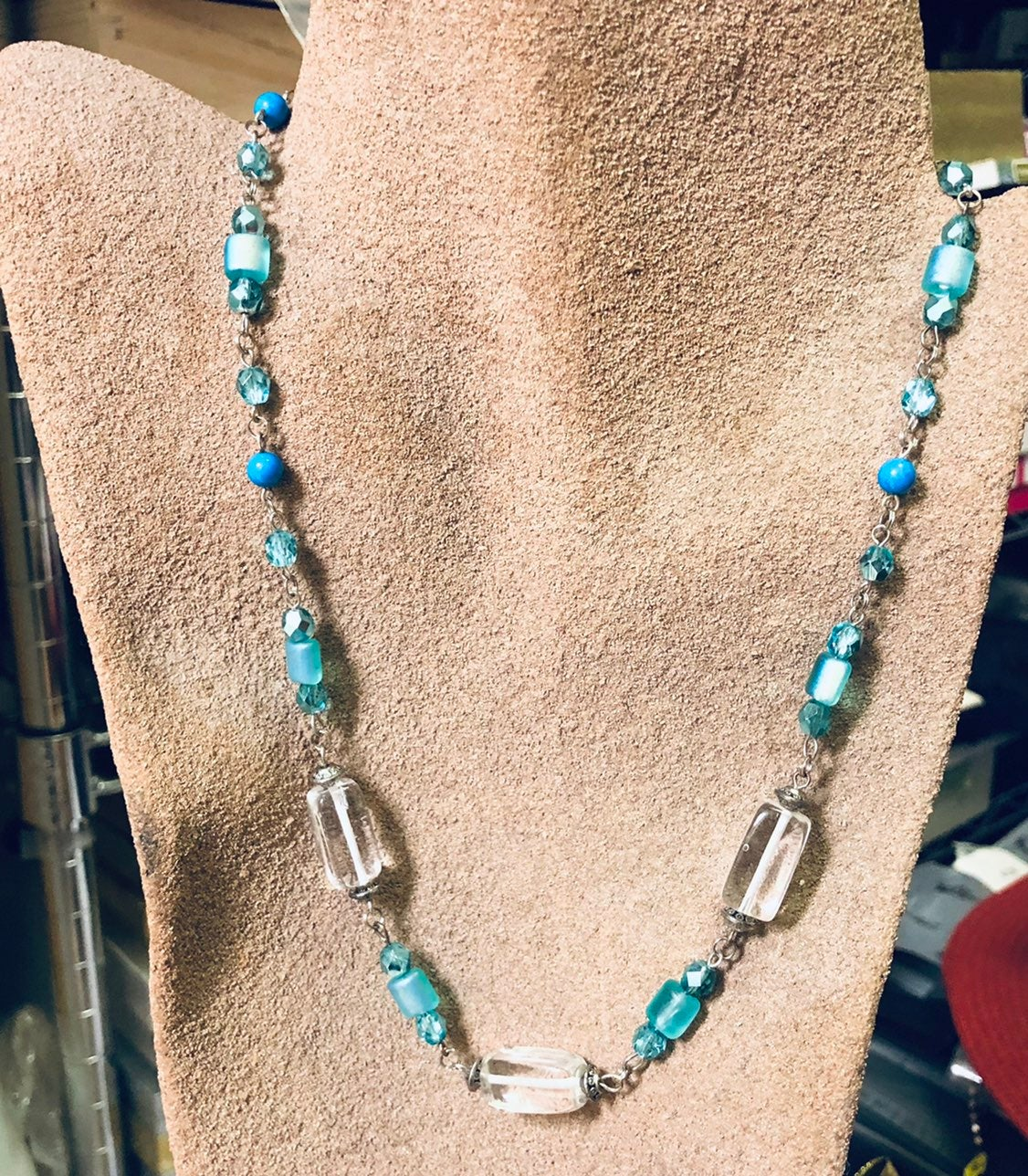 Turquoise necklace with clear quartz NEW