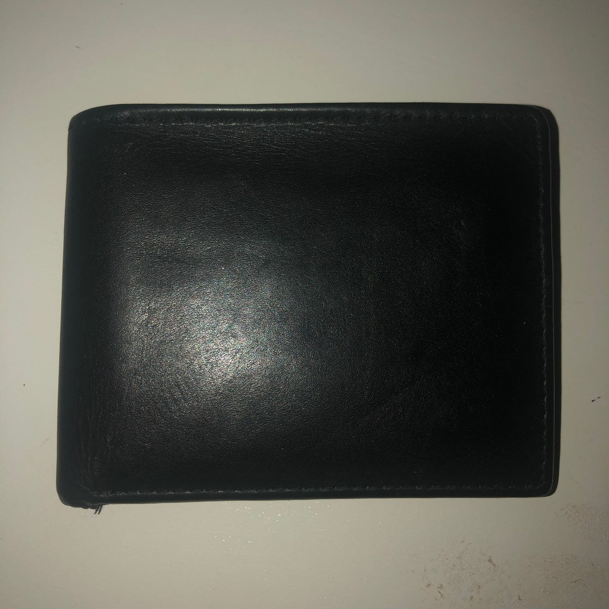 Mens black leather multi fold wallet