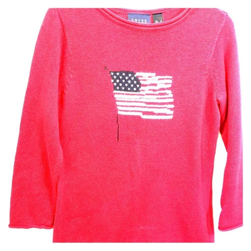 CRAZY HORSE red Sweater American Flag  S
