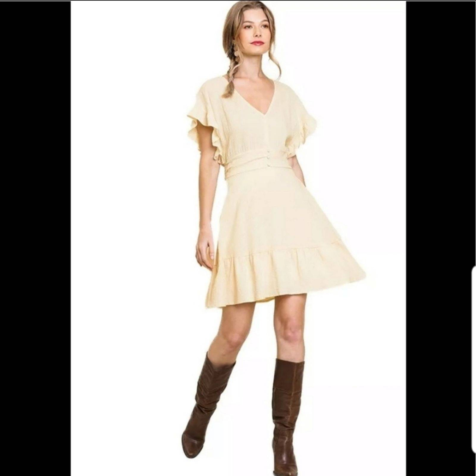 Umgee Flutter Sleeve Smocked Waist Dress