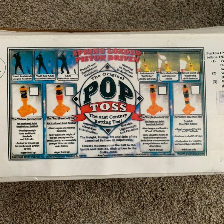 Pop toss batting tee baseball or softbal