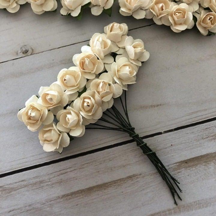 Paper Rose Flower 144pcs 15mm : Ivory