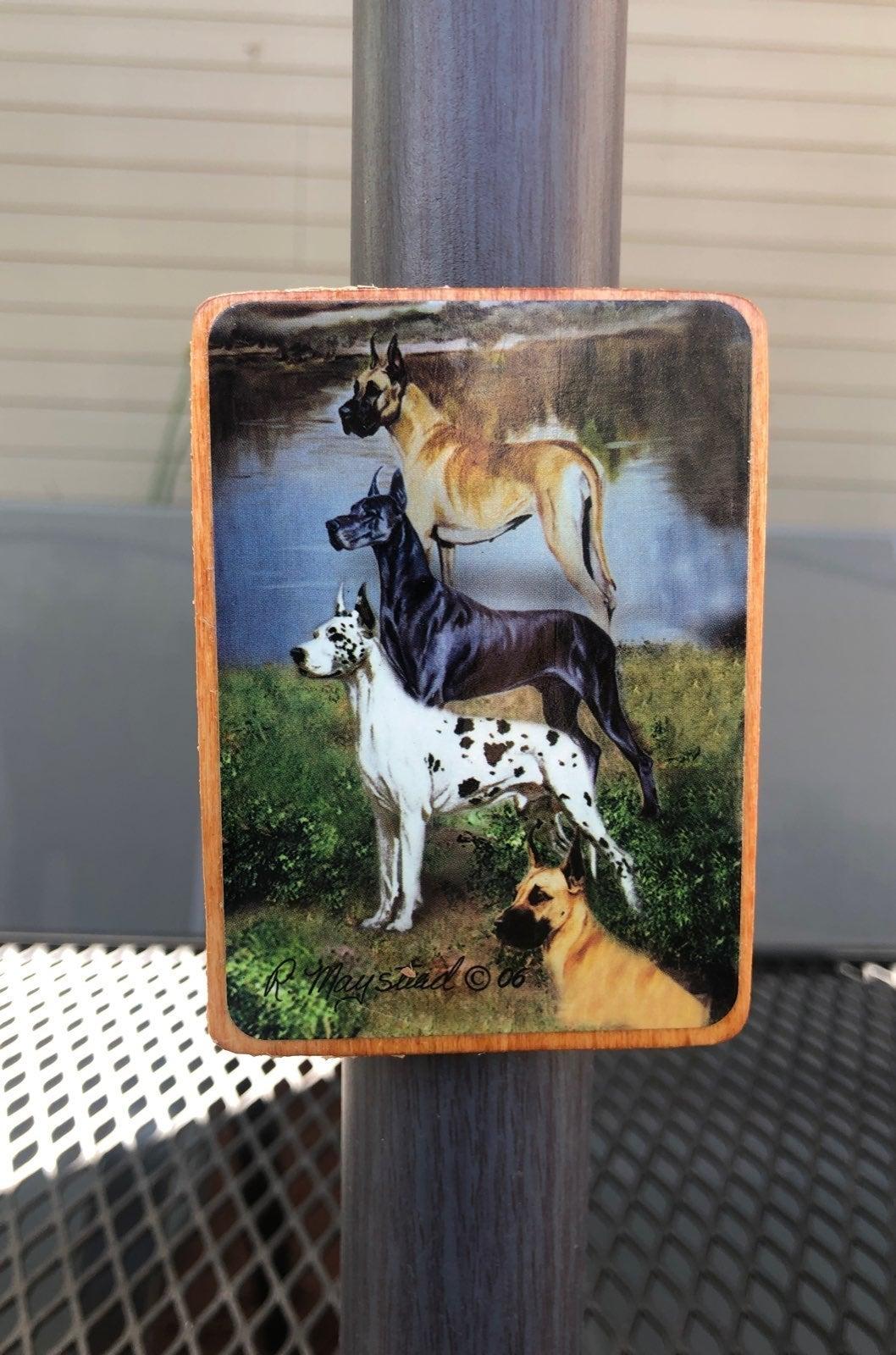 Great Dane Dog Wood Magnet
