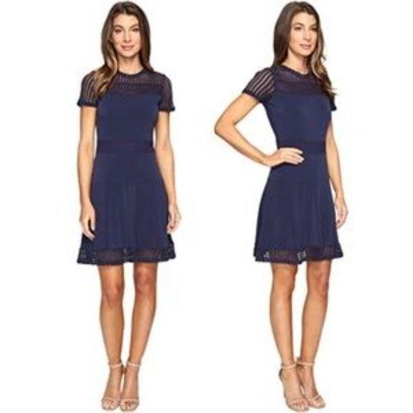 Michael Kors Mesh Combo Dress Navy XS