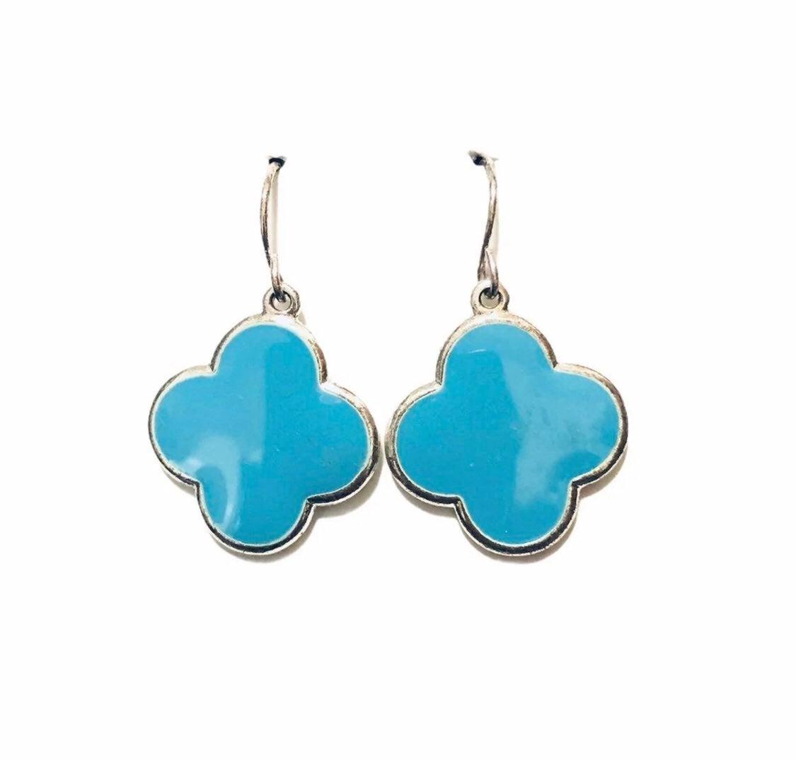 Blue Earrings four leaf clover good luck