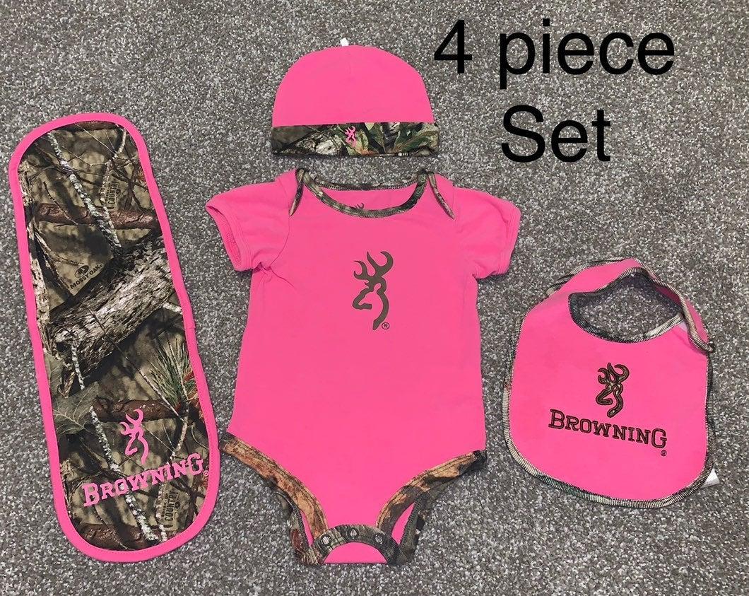 Baby girl 4 piece Browning camo set- 6 m