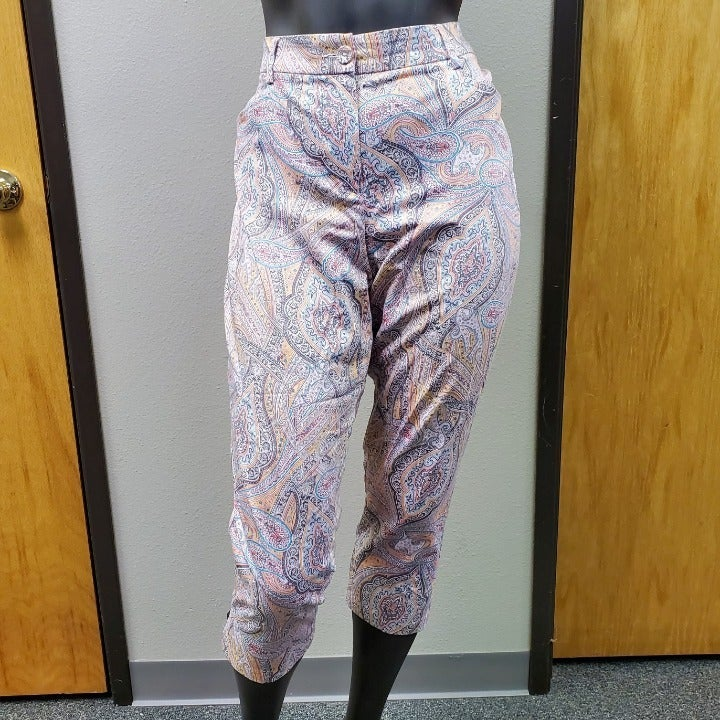 TRIBAL Pink Paisley Capris Pants Size 14