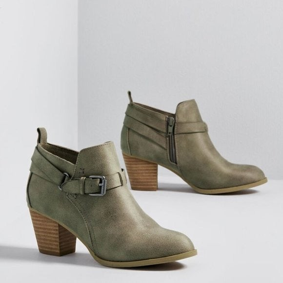 Cute army green Modcloth booties