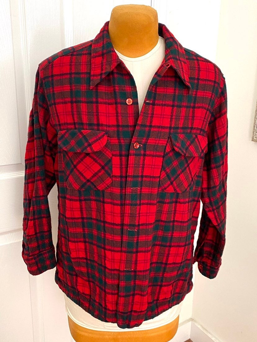Men's Pendleton Red Plaid Wool Shirt-XL