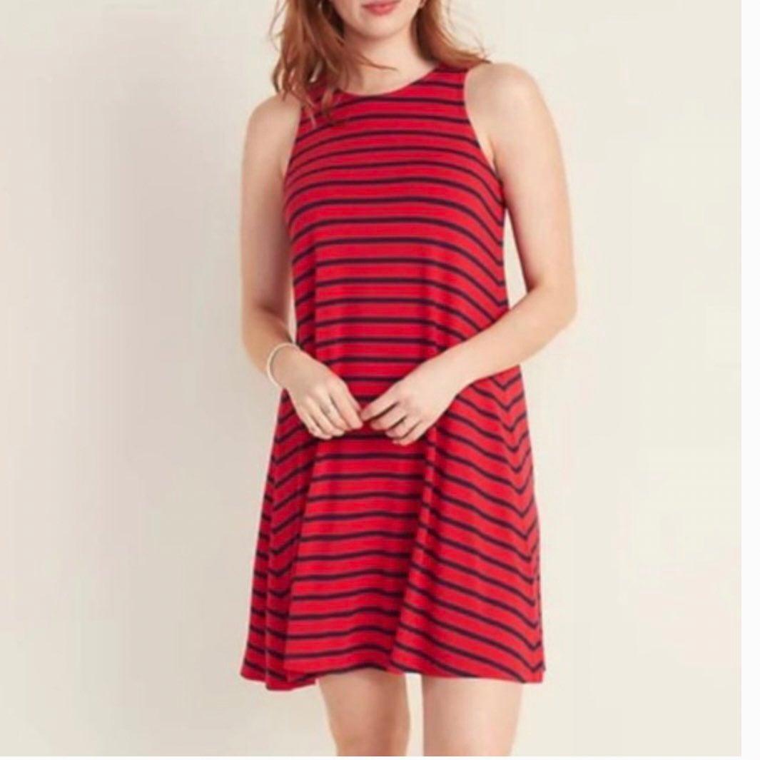 Sleeveless red striped swing dress XXL