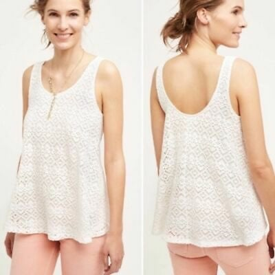 Anthropologie deletta white lace tank