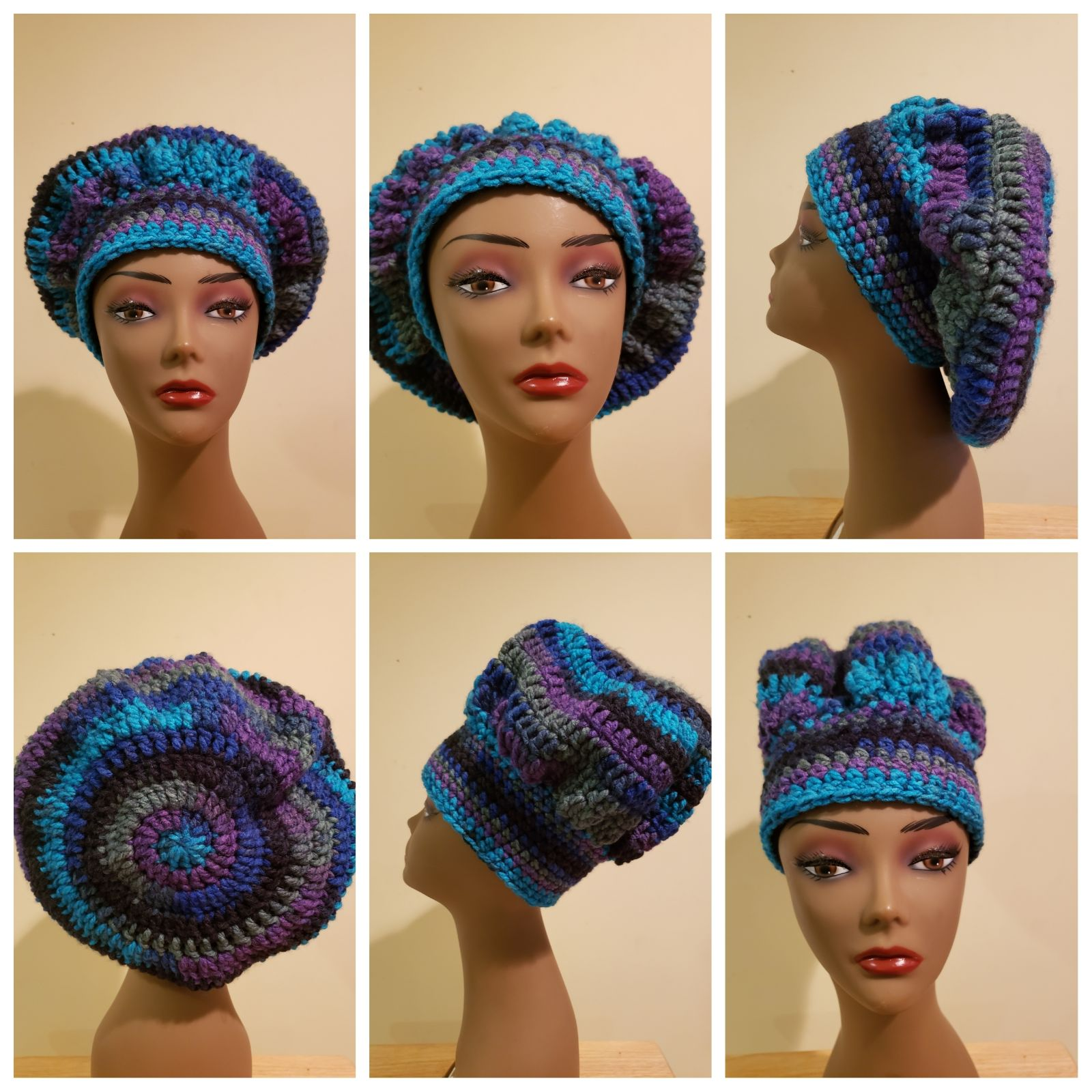 Handmade crocheted hat.  Can be worn mul