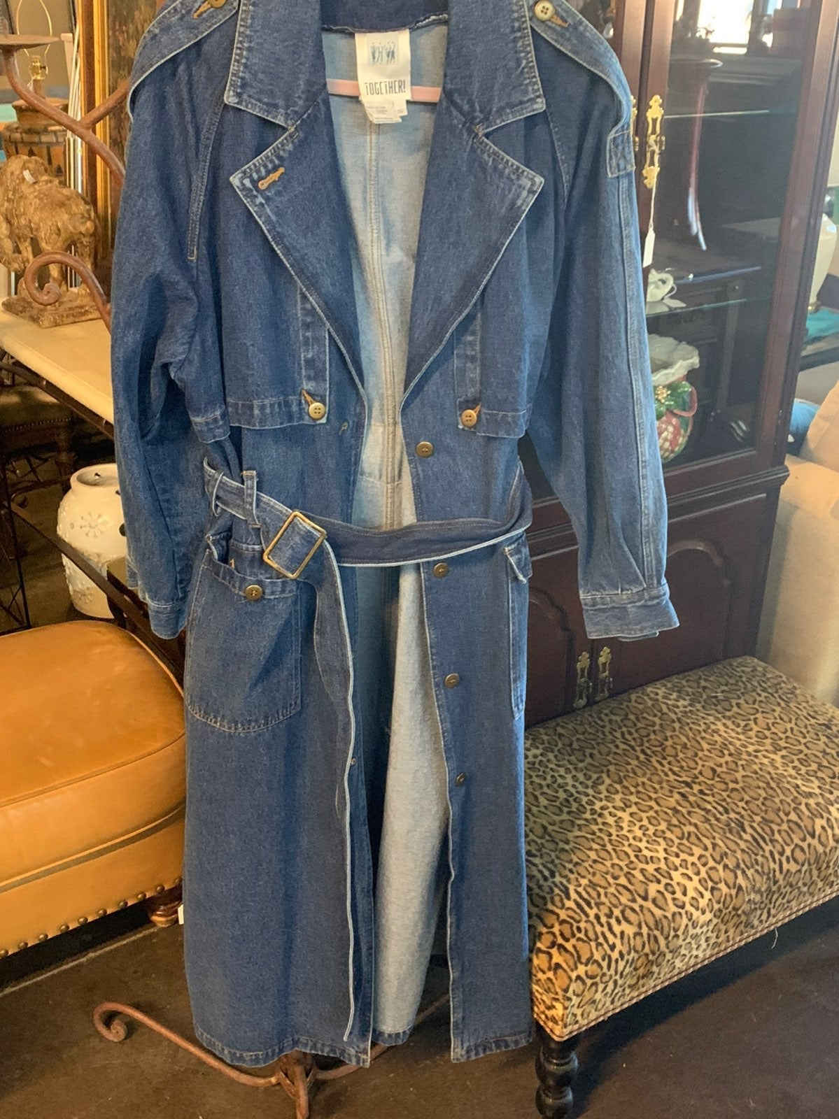 Vintage 80s denim trench coat
