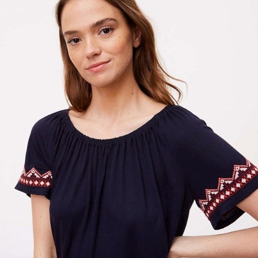 LOFT Ann Taylor embroidered navy top S