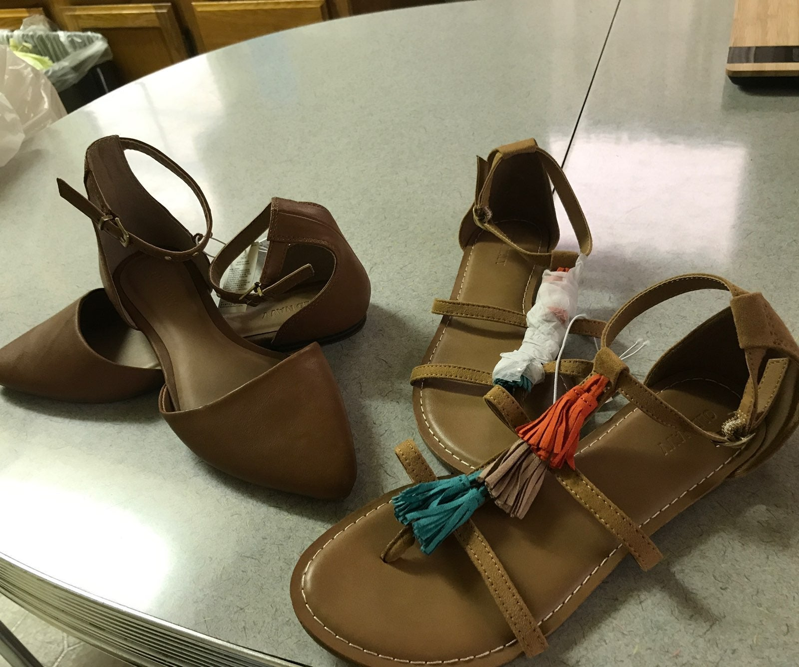 Two pairs of Old Navy Sandles Tan Size 7