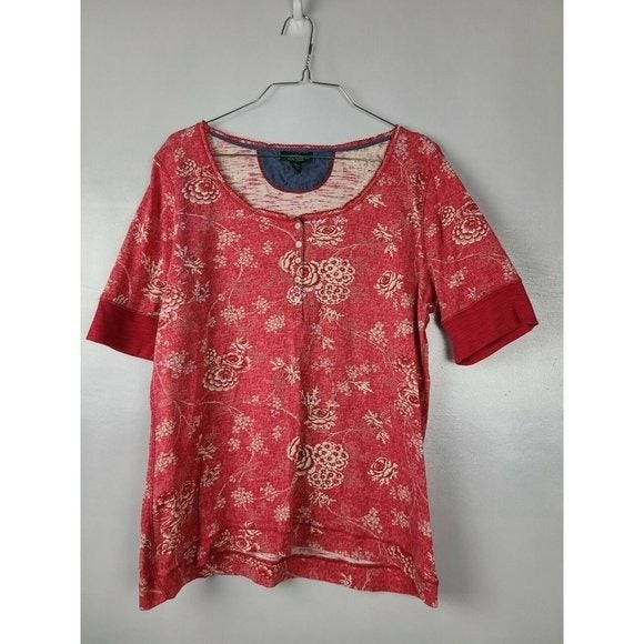 Lauren Jeans Co Red Floral Top XL