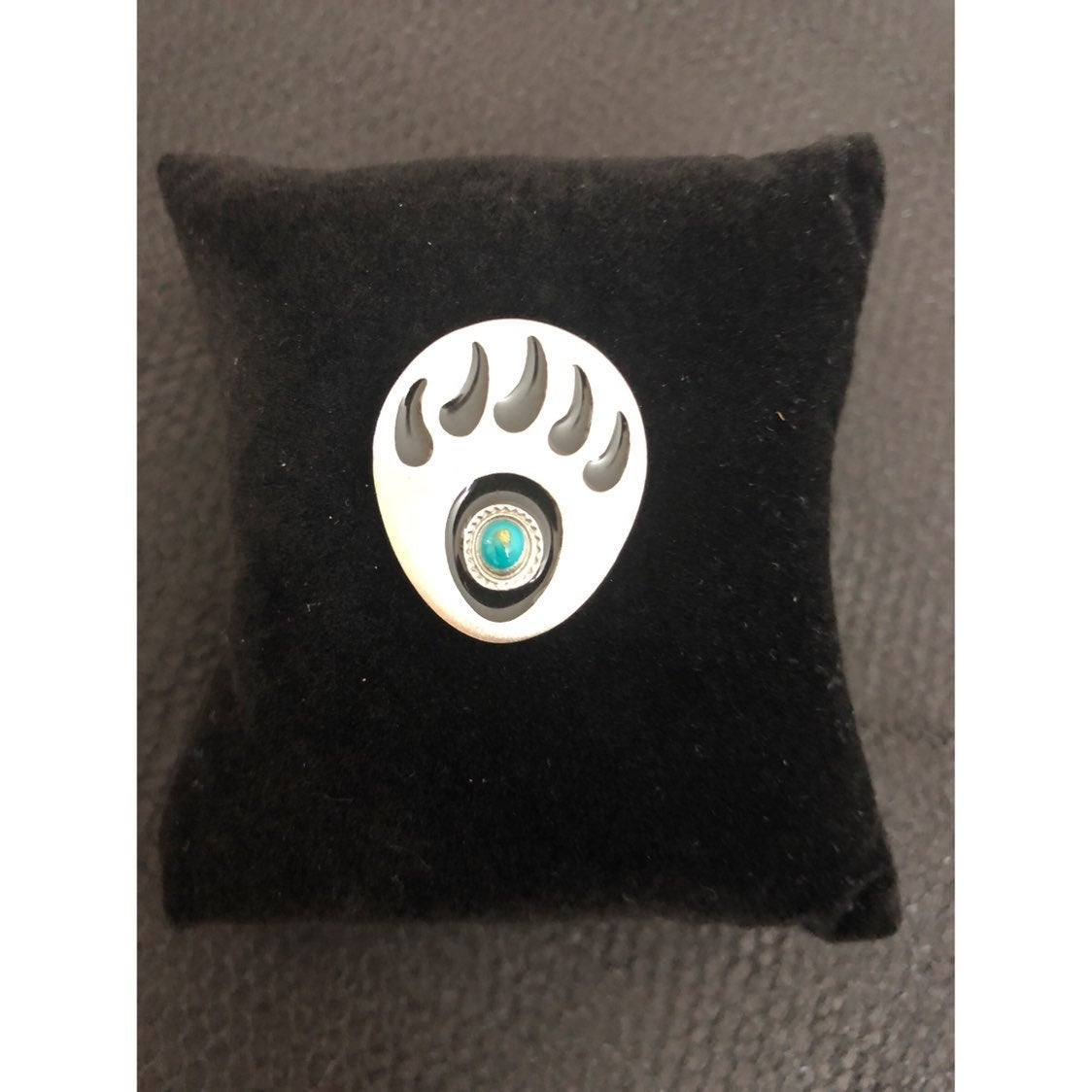 Vtg Silver & Turquoise Bear Paw Brooch