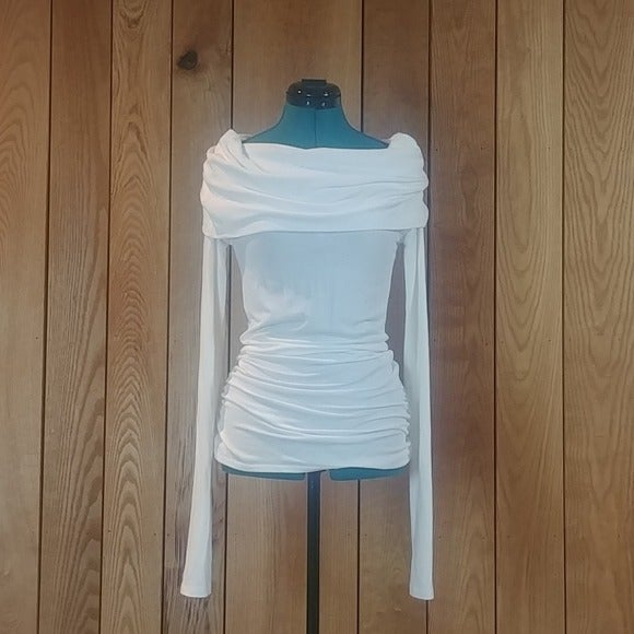 Rue21 White Cowl Long Sleeve Tunic Top S