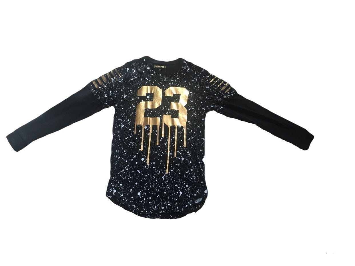 Gold 23 MJ Black Shirt