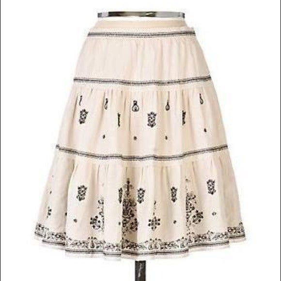 LITHE Anthropologie Embroidered Skirt