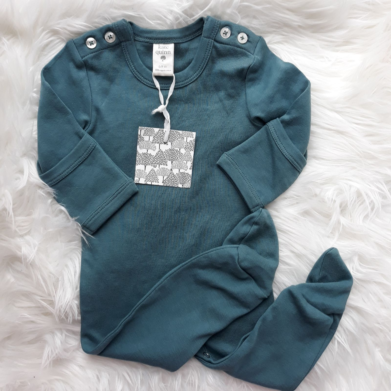 Kate Quinn 6-9 month teal footie