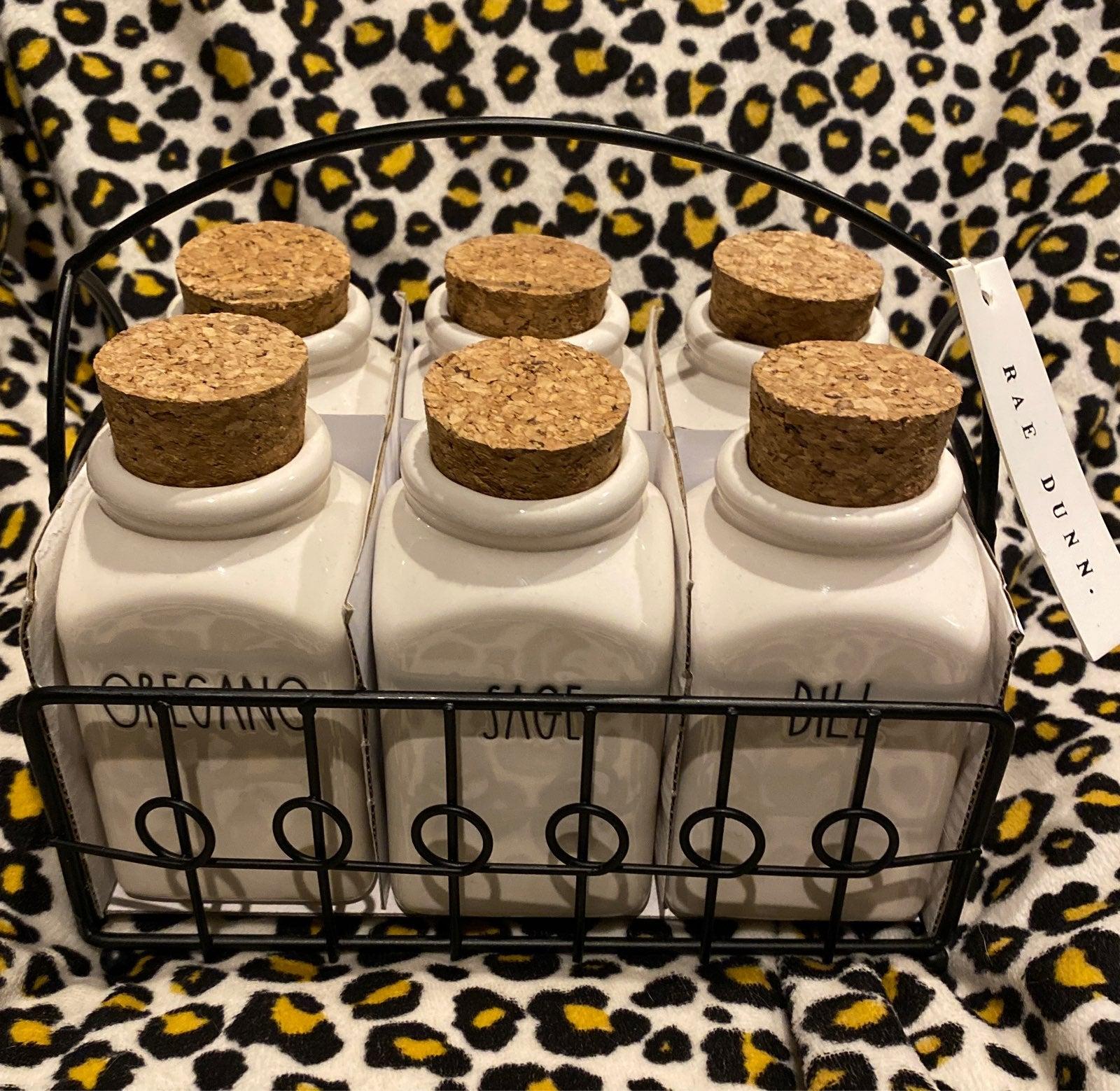 Rae Dunn Spice Jars and Rack